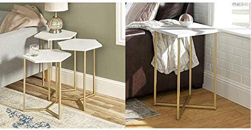 Walker Edison Furniture Modern Hexagon Nesting Side End Table Set Living Room