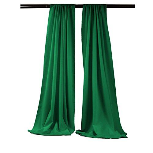 LA Linen 58″ Wide by 96″ High Polyester Poplin Backdrop Drape – 1 Pair – Emerald Green. For Sale