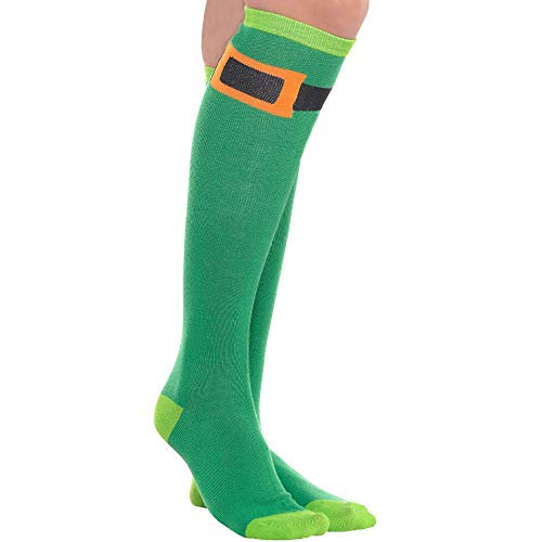 Amscan St. Patricks Day Green Belt Style Knee High Socks, 1 Pair | Party Accessory