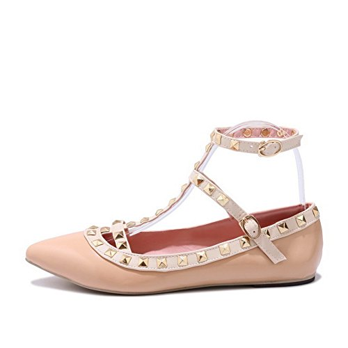 BalaMasa Womens Sandals Closed-Toe No-Closure Ankle-Wrap Heeled Cold Lining Solid Fabric Fabric Sandals ASL04567 Beige FwzbiBxw