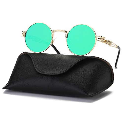 Ray Parker Retro Vintage UV Protection Round Punk Mirrored Lens Sunglasses for Men RP8010 With Gold Frame/Green - Sunglasses Parker