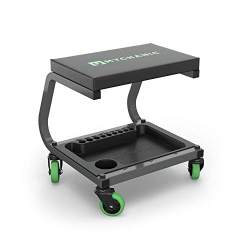 Fastback Shop Stool - Rolling Garage Stool - 350 Lb Capacity - 3-Inch Casters - Tool Tray with Socket Organizer - Padded Seat - Powder Coated Steel Frame
