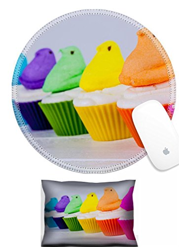 Luxlady Mouse Wrist Rest and Round Mouse Wrist Set IMAGE: 26397464 Brightly colored Peeps marshmallow Easter cupcakes arranged in rainbow