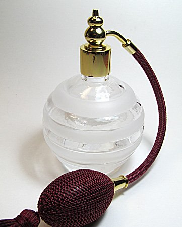Burgundy Refillable (Empty refillable perfume atomizer bottle with squeeze bulb and tassel sprayer. (Burgundy (Wine) bulb color))