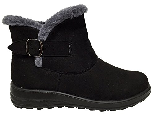 Ladies Cushion Walk Faux Suede Warm Faux Fur Lined Casual Comfort Ankle Boot Shoe Size 3-8 Black/Buckle