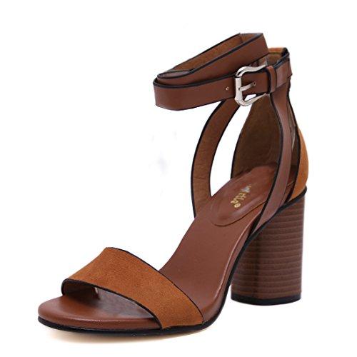 Chunky High Heel Sandals (Gaorui Fashion Women Ladies Open Toe Chunky High Heel Sandals Ankle Strap Buckle Shoes)