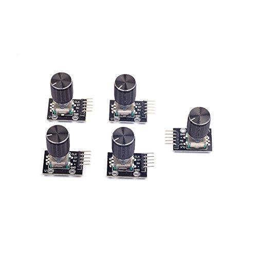 Cylewet 5 piezas módulo codificador rotatorio KY-040 con 15 × 16,5 mm con tapa de botón para Arduino (paquete de 5) CYT1062