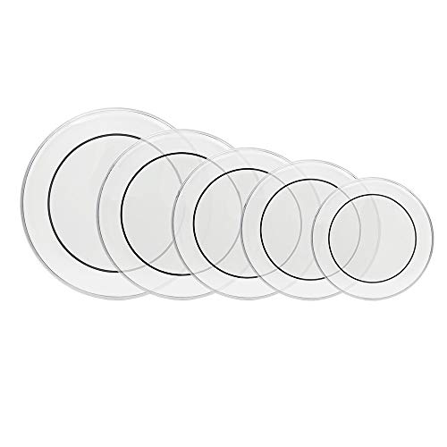 Kuyal Pinstripe Clear 5-Piece Drum Heads Pack Includes 12, 13, 14, 16 & 22 inch Transparent