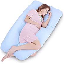 """Amagoing 55"""" Pregnancy Pillow, U Shaped Full Body Maternity Pillow for Women/Men with Hip, Rip, Back Pain, Washable Cotton Cover"""