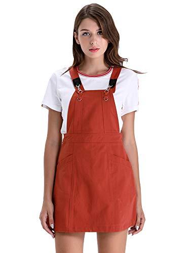 BARGOOS Women Denim Pinafore Overall Dress Adjustable Straps High Waist Sleeveless Mini Bib Skirt with Pockets X-Large