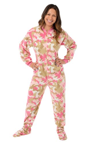 Big Feet PJs Womens Pink Camouflage Fleece Adult Footed Onesie Pajamas