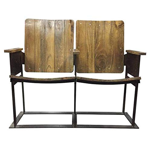 Rustic Deco Industrial Vintage Double Theater Seats - Reclaimed Wood - 2 Seater Cinema Seats