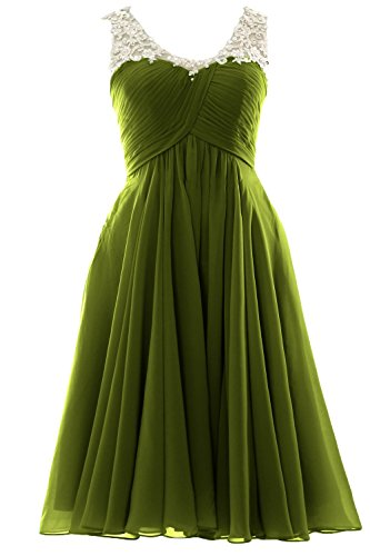 MACloth V Neck Beaded Lace Short Bridesmaid Dress Formal Evening Prom Gown (26w, Olive Green)