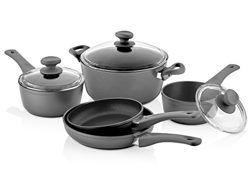 Saflon Titanium Nonstick 8-Piece Cookware Set, 4mm Forged Aluminum with PFOA Free Scratch-Resistant Coating from England, Dishwasher Safe
