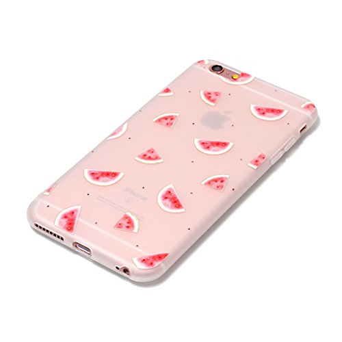 iPhone 6 / 6S Coque,3D pastèque rose Premium Gel TPU Souple Silicone Transparent Clair Bumper Protection Housse Arrière Étui Pour Apple iPhone 6 / 6S + Deux cadeau