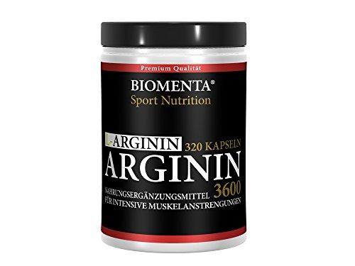 Biomenta L-Arginin 3600 hochdosiert - 320 St. für 3,5 - 4 Monate - SONDER-AKTIONSPREIS - allergikergeeignet - deutsche Qualität mit 913 mg L Arginin Pulver je Kapsel (3652 mg Tagesdosis), reines Arginine ohne Zusätze, für aktive Frauen und Männer