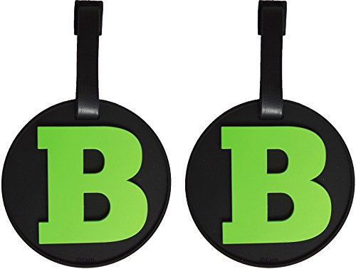 Set of 2 Luggage Tags Initial Letter B Alphabet 3-D Color on Black Personalized Reinforced Bendable Heavy Duty ID Tag