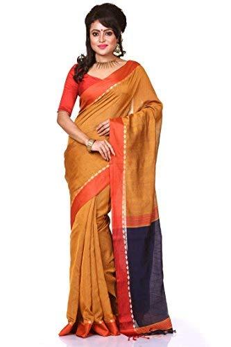 Bengal Handloom Saree Women's Cotton Silk XXXXX-Large Gold