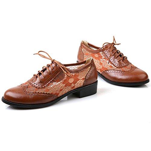 Zanpa Mujer Casual Cordones Zapatos Oxford Shoes de Lace Brown
