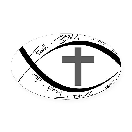 CafePress - jesus fish.png Oval Car Magnet - Oval Car Magnet, Euro Oval Magnetic Bumper (Png Car Magnet)