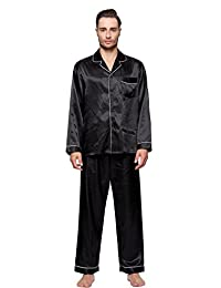 Shining Life Men's Classic Satin Pajama Set - Long Pjs