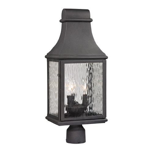 Forged Jefferson Collection 3 light outdoor post light in Charcoal - Jefferson Collection 3 Light