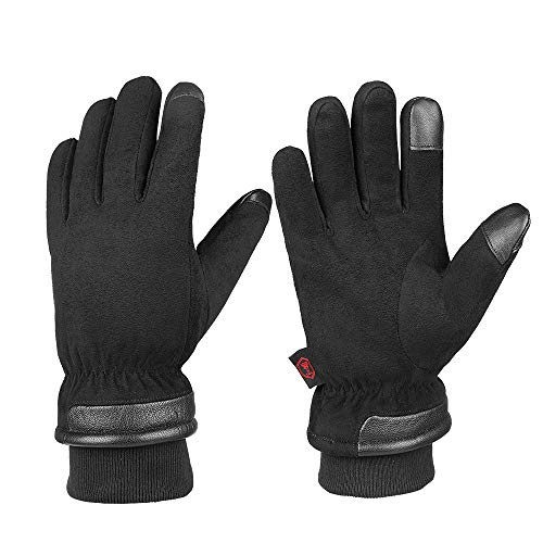 Mens Winter Gloves Waterproof & Touchscreen With Suede Leather Cold Weather Thermal Protection For Low Temperatures -30℉ (Best Glove Manufacturing Company)