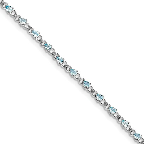 Sonia Jewels Sterling Silver Simulated Aquamarine and Diamond Bracelet 7