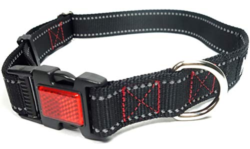 Leashboss Reflective Dog Collar with Night Visibility Reflector Buckle - Durable 1 Inch Wide Adjustable Nylon Red and Black (Medium Neck 14.5