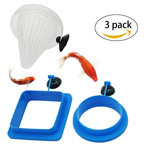 Hamiledyi Fish Feeder Square and Round Shape Aquarium Safe Fish Feeding Ring with Sucker Suction Cup Base Plastic Funnel Feeder(Pack of 5) - Square Fish