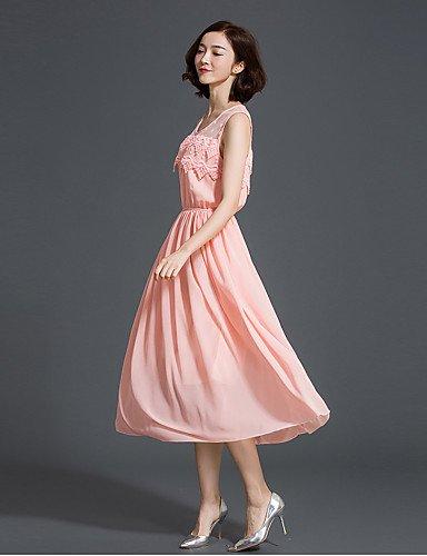 PU&PU Robe Aux femmes Mousseline de Soie / Swing Simple / Mignon,Mosaïque Col en U Midi Polyester , pink-xl , pink-xl