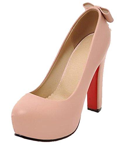Easemax Womens Eleganti Archi Catene Strass Scarpe Con Tacco Alto E Grosso Scarpe Rosa