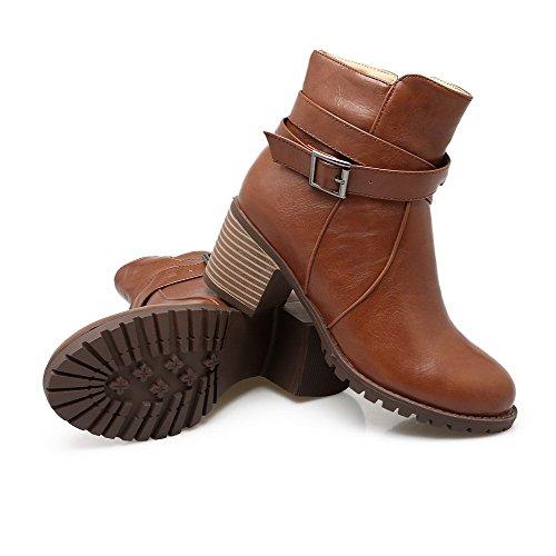 AgooLar Damen Rund Zehe Mittler Absatz Blend-Materialien Rein Reißverschluss Stiefel Braun