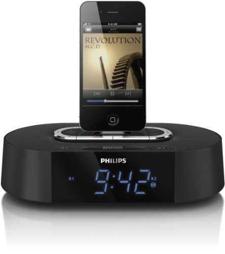 Philips Alarm Clock Radio 30-pin Speaker Dock for iPod/iPhone AJ7030DG/37 (Black)