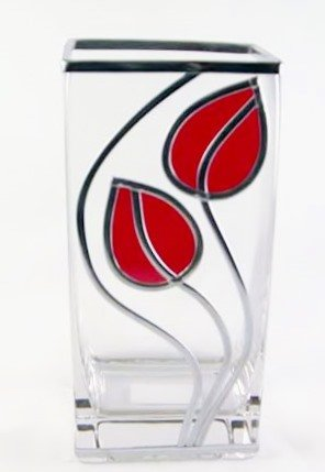 Charles Rennie Mackintosh Style Leaves And Line Glass Vase, 22 cm. Simply Stunning In