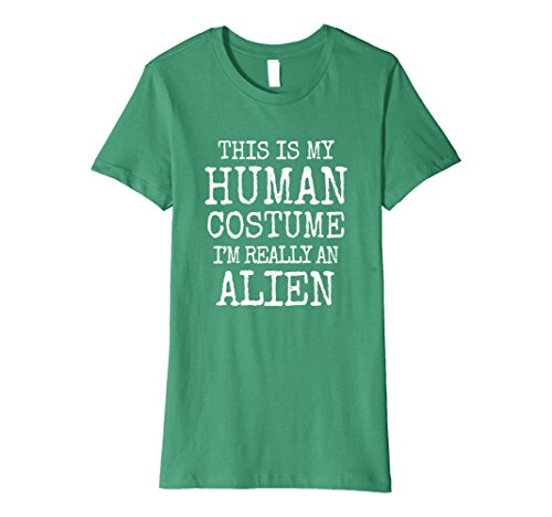 Womens Alien Halloween Costume Premium Shirt Easy Funny Kids Adults Medium Kelly Green - Female Alien Costumes