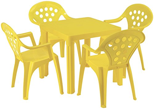 Outdoor Kids Chairs Set - Baby Lulu Grand Soleil Children's Outdoor and Indoor Table and Chair Set - 4 Chairs - Made in Italy to European Standards with PolyPure - (Yellow)