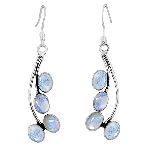 8.00ctw, Genuine Rainbow Moonstone & 925 Silver Plated Dangle Earrings Made By Sterling Silver Jewelry
