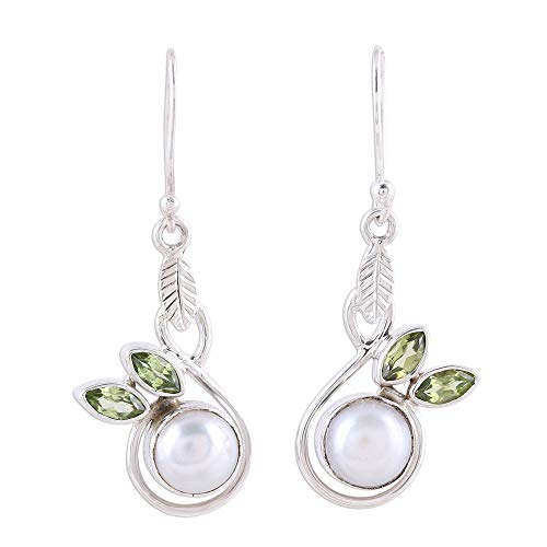 NOVICA Peridot Cream Cultured Freshwater Pearl .925 Silver Dangle Earrings, Spring Beauty'