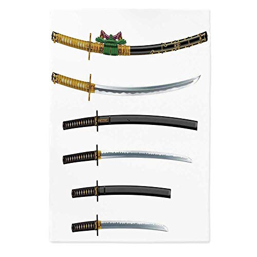 (TecBillion Japanese Soft Tablecloth,Curved Slender Single Edged Blade Japanese Swords Katana Historical Guard Image for Buffet Table Parties Holiday Dinner Wedding & More,60''W X 84''L)