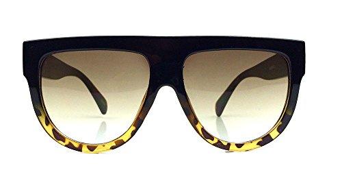 Flat Top Square Aviator Gradient Frame Shadow Sunglasses (Black - Sunglasses Generic
