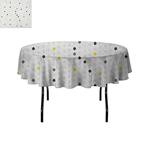 Douglas Hill Modern Washable Tablecloth Modern Geometric Shapes Polka Dot Tear Drop Forms Pattern Graphic Art Print Dinner Picnic Home Decor D40 Inch Grey White Yellow