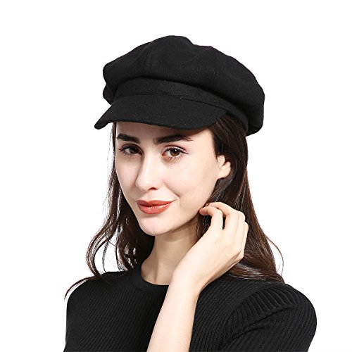 JOOWEN Unisex Melton Wool Newsboy Gatsby Ivy Baker Boy Cap Visor Beret Cabbie Hat for Ladies (8 Panel Black) -