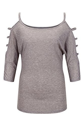 Beauty7 Camisetas Mujeres Casual Loose Hollowed Out Hombro Hueco Manga Top Flexible Camisas Verano Blusa T-shirt Azul Gris Morado Rosa Parte Superior Gris