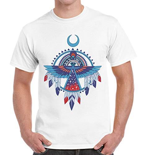 (Cmcrcc Mens Short-Sleeve Crewneck Cotton T-Shirts with Native American Thunderbird Pattern XS-3XL)