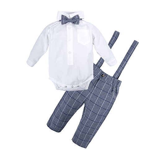 BIG ELEPHANT 2 Pieces Baby Boys Long Sleeve Shirt Suspender Pant Set with Bowtie Style A Q21-90 12-18 Months - Baby Boy Dress Outfit