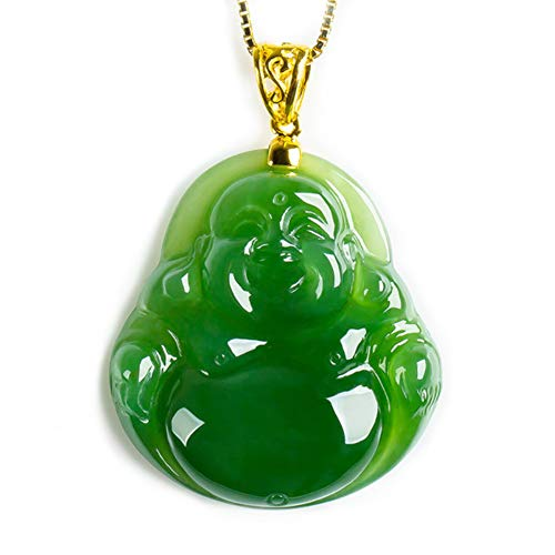 - EASTCODE Natural AAA Green Hand-Carved Chinese Hetian Jade Buddhism Statue Pendant + Rope 18 K GP Necklace