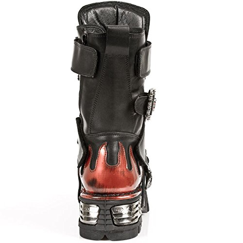 New Rock Unisex Stiefel Schwarz Rot Punk Rock Design Rot Flamme Fledermaus