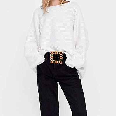 Ogquaton Las Mujeres Salvajes de Alta Gama de Accesorios cintur/ón Palabra Japonesa Hebilla con Incrustaciones de Perla Cuadrada Hebilla Decorativa cintur/ón Negro