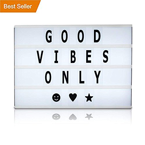 Battery and USB Cable Powered Cinematic Light Box, LED Light Box, Cinema Light Box, Letter Light Box with 200 Letters, LED Lights and USB Cable - 200 pc tiles, Size 16.5 x 11.4 x 2 by Brooklyn Lighting Company